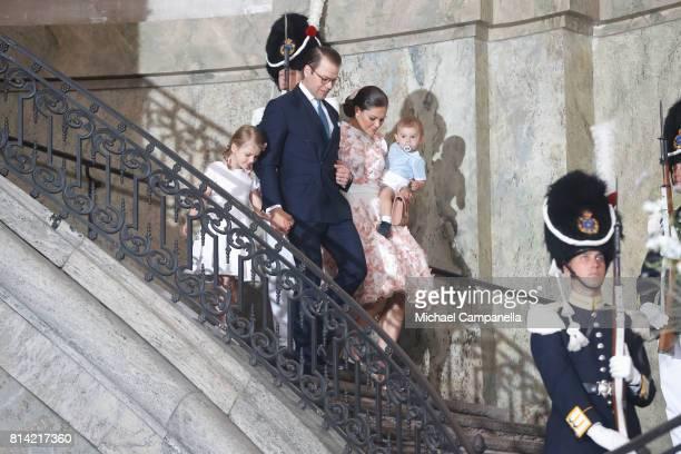Crown Princess Victoria of Sweden, Prince Oscar of Sweden, Princess Estelle of Sweden and Prince Daniel of Sweden depart after a thanksgiving service...