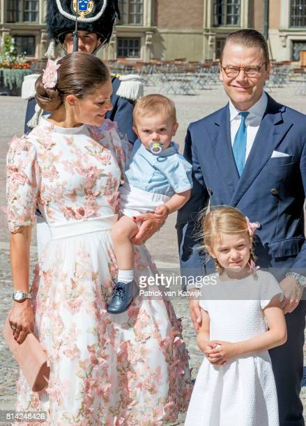 Crown Princess Victoria of Sweden Prince Oscar of Sweden Princess Estelle of Sweden and Prince Daniel of Sweden after the thanksgiving service on the...