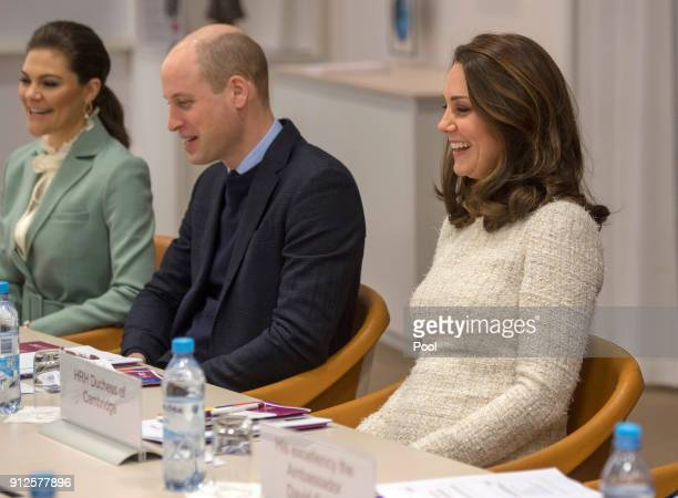 Crown Princess Victoria of Sweden Prince William Duke of Cambridge and Catherine Duchess of Cambridge meet with academics and practitioners to...
