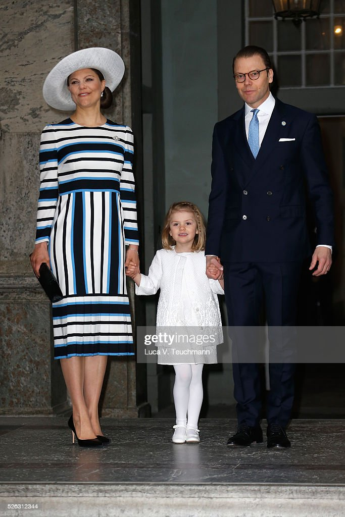 Crown Princess Victoria of Sweden, Princess Estelle and Prince Daniel of Sweden arrive at the Royal Palace to attend Te Deum Thanksgiving Service to celebrate the 70th birthday of King Carl Gustaf of Sweden on April 30, 2016 in Stockholm, Sweden.