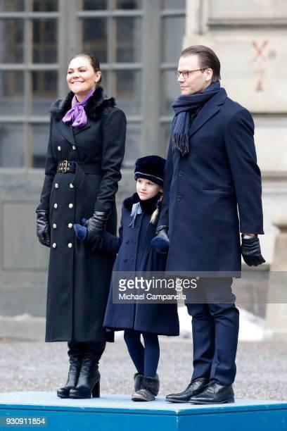 Crown Princess Victoria of Sweden, Princess Estelle and Prince Daniel, Duke of Vastergotland participate in a celebration for the Crown Princess'...