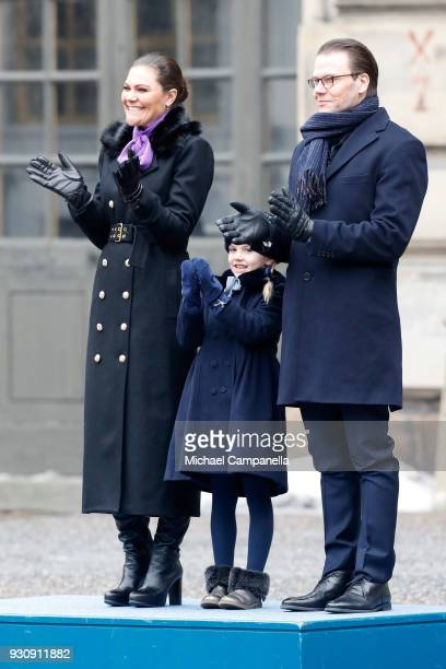 Crown Princess Victoria of Sweden Princess Estelle and Prince Daniel Duke of Vastergotland participate in a celebration for the Crown Princess' name...