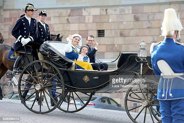 Crown Princess Victoria of Sweden Princess Estelle Duchess of stergtland and Prince Daniel of Sweden Duke of Vastergotland attend the National Day...