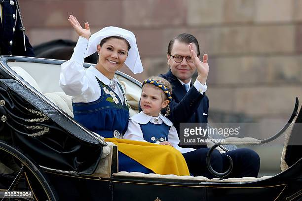 Crown Princess Victoria of Sweden Princess Estelle Duchess of Östergötland and Prince Daniel of Sweden Duke of Vastergotland attend the National Day...