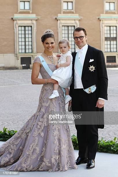 Crown Princess Victoria of Sweden, Princess Estelle of Sweden and Prince Daniel of Sweden attend the wedding of Princess Madeleine of Sweden and...