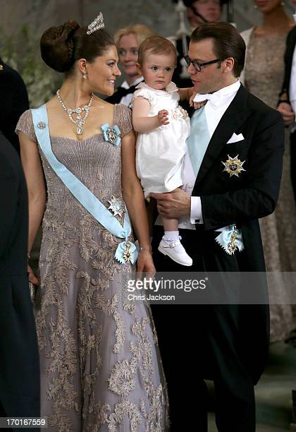 Crown Princess Victoria of Sweden Princess Estelle of Sweden and Prince Daniel of Sweden depart after the wedding ceremony of Princess Madeleine of...