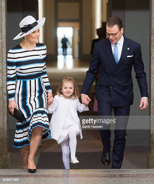 Crown Princess Victoria of Sweden Princess Estelle of Sweden and Prince Daniel of Sweden arrive at the Royal Palace to attend Te Deum Thanksgiving...