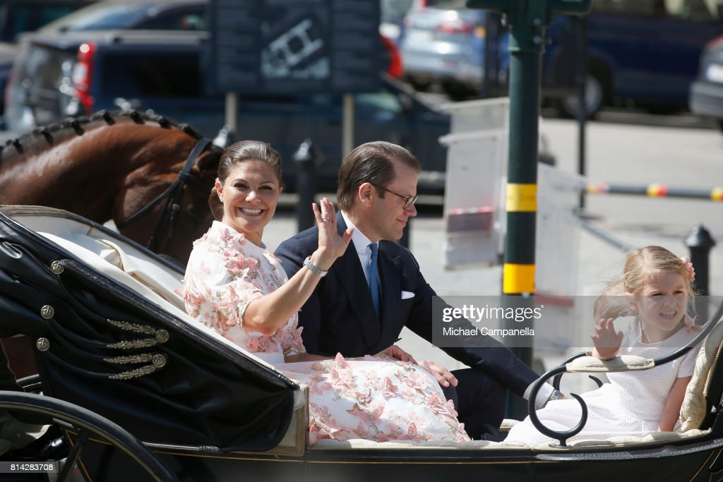 Crown Princess Victoria of Sweden, Princess Estelle of Sweden and Prince Daniel of Sweden are seen being escorted from the Royal Palace to the Royal Stables in a horse drawn carriage on the occasion of The Crown Princess Victoria of Sweden's 40th birthday celebrations at the Royal Palace on July 14, 2017 in Stockholm, Sweden. The celebrations in Stockholm end with the Crown Princess Family being escorted from the Royal Palace to the Royal Stables in a horse drawn carriage.