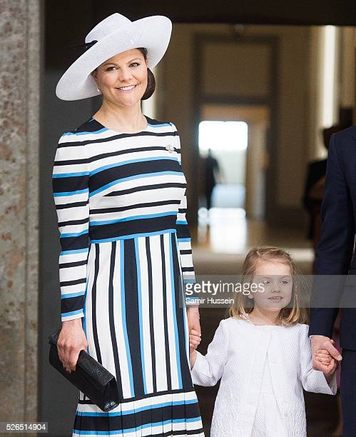 Crown Princess Victoria of Sweden Princess Estelle of Sweden arrive at the Royal Palace to attend Te Deum Thanksgiving Service to celebrate the 70th...