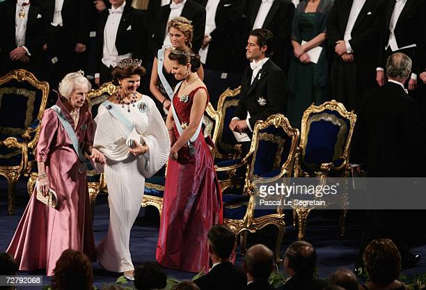 Crown Princess Victoria of Sweden , Princess Madeleine of Sweden and Prince Carl Philip of Sweden stand as Princess Lilian of Sweden, Queen Silvia of...
