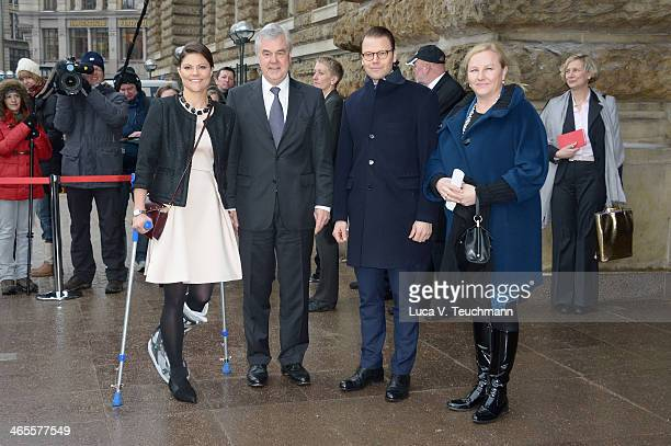 Crown Princess Victoria of Sweden Senator Frank Horch Prince Daniel Of Sweden and Ewa Bjoerling leave afer a meeting with the mayor of Hamburg at the...