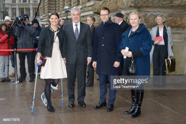 Crown Princess Victoria of Sweden Senator Frank Horch Prince Daniel Of Sweden and Ewa Bjoerling leave after a meeting with the mayor of Hamburg at...