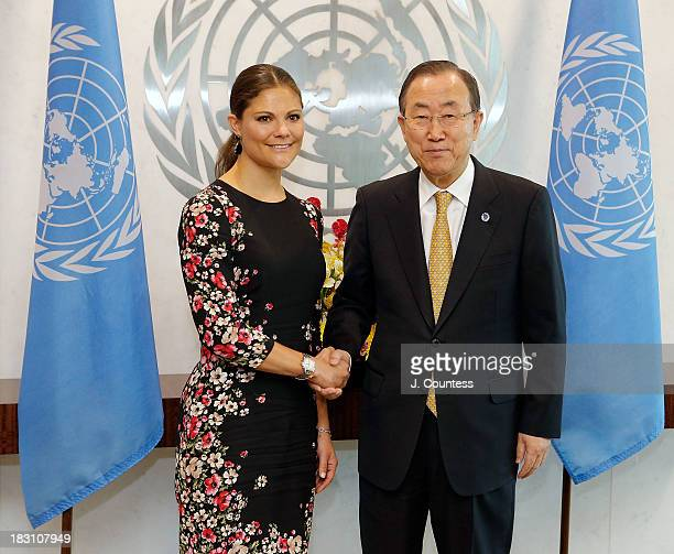 Crown Princess Victoria Of Sweden shakes hands with United Nations Secretary General Ban Kimoon during a visit to the United Nations on October 4...