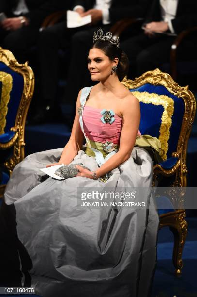 Crown Princess Victoria of Sweden sits prior to the Nobel Prize Award ceremony 2018 on December 10 2018 at the Concert Hall in Stockholm Sweden