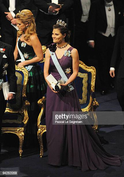 Crown Princess Victoria of Sweden stands onstage during the Nobel Foundation Prize Awards Ceremony 2009 at the Concert Hall on December 10 2009 in...