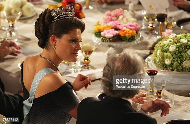 Crown Princess Victoria of Sweden talks to the Nobel Prize in Physiology or Medicine winner Mario R Capecchi of United States during the Nobel...
