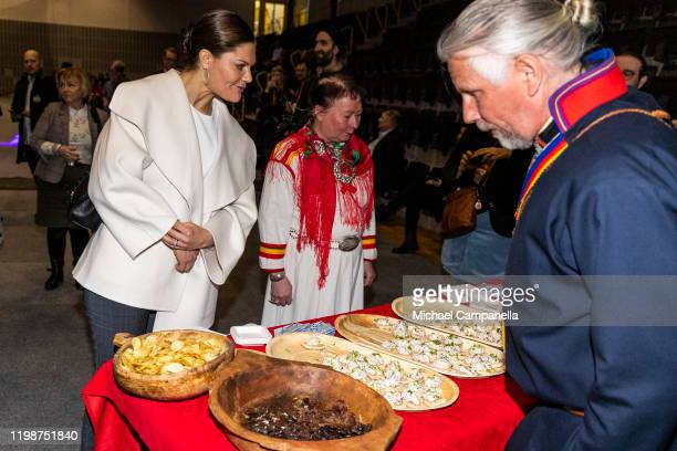 Crown Princess Victoria of Sweden tries Reindeer meat while attending the Folk and Culture 2020 festival at STIGA Sports Arena on February 5 2020 in...