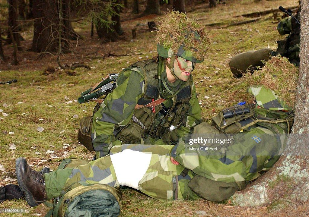 Crown Princess Victoria During Her 3-Week Basic Military Training : News Photo