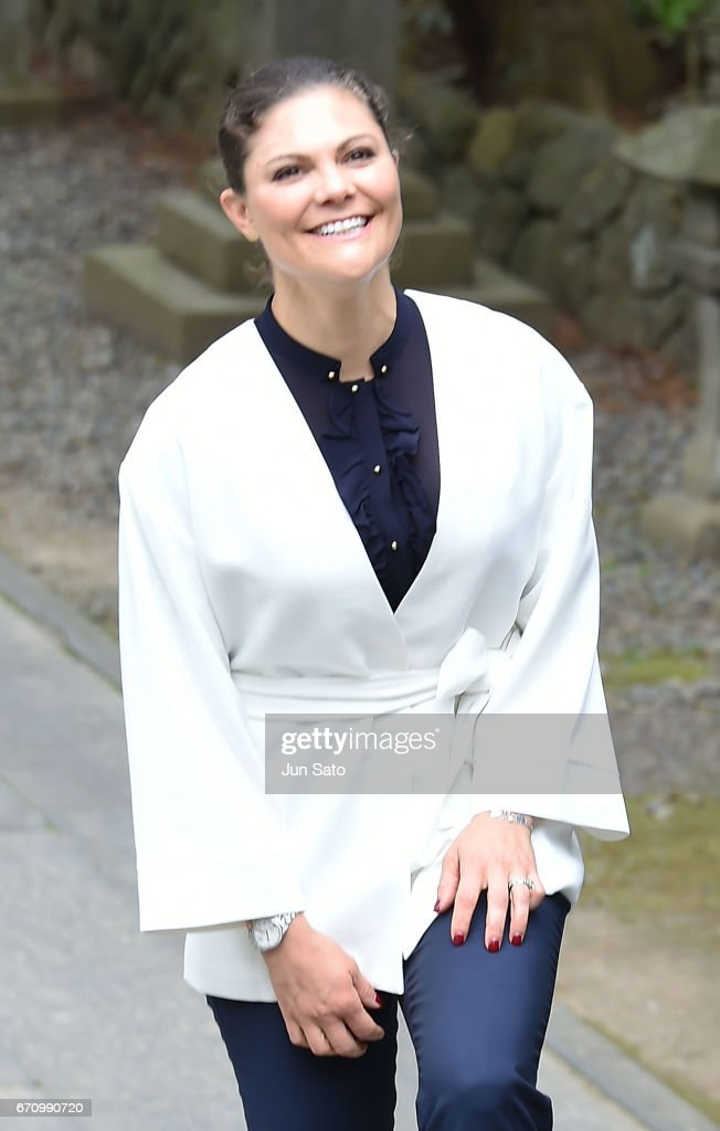 Crown Princess Victoria of Sweden visits Shiogama Shinto Shrine on April 21, 2017 in Shiogama, Japan. Crown Princess Victoria is visiting Japan from April 18 - 21 for issues regarding her role as an advocate for the UN's sustainable development goals.