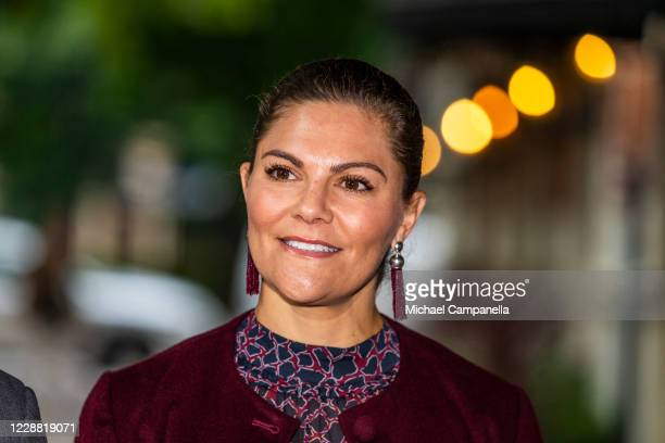 Crown Princess Victoria of Sweden visits the Maxim Theater on October 1, 2020 in Stockholm, Sweden. The Maxim Theater is one of the many local...