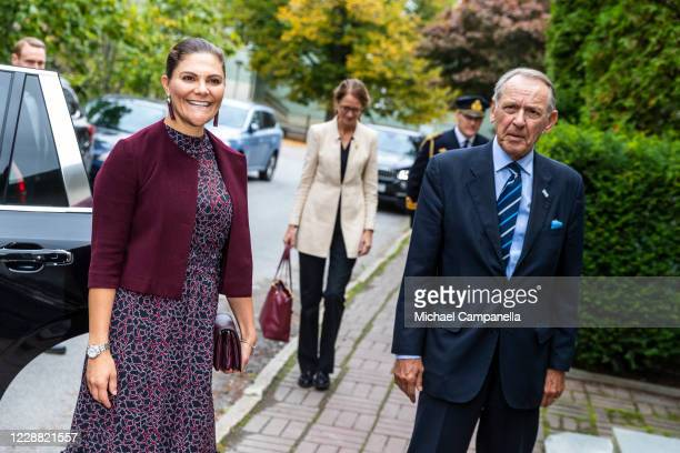 Crown Princess Victoria of Sweden visits the Stockholm International Peace Research Institute and is greeted by Ambassador Jan Eliasson on October 1,...