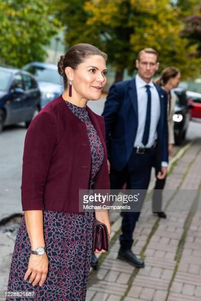 Crown Princess Victoria of Sweden visits the Stockholm International Peace Research Institute on October 1, 2020 in Stockholm, Sweden.