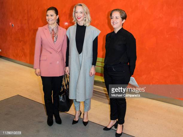 Crown Princess Victoria Of Sweden visits the Swedish office's of Google and is greeted by Google Sweden CEO Anna Wikland on March 7 2019 in Stockholm...