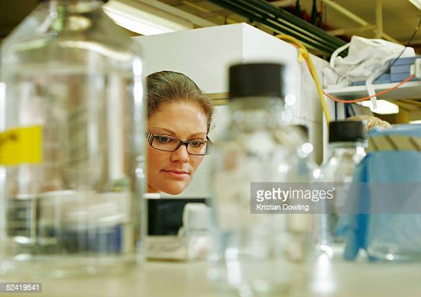 Crown Princess Victoria of Sweden visits the Walter and Elize Hall Medical Research Clinic March 16, 2005 in Parkville, Melbourne, Australia.