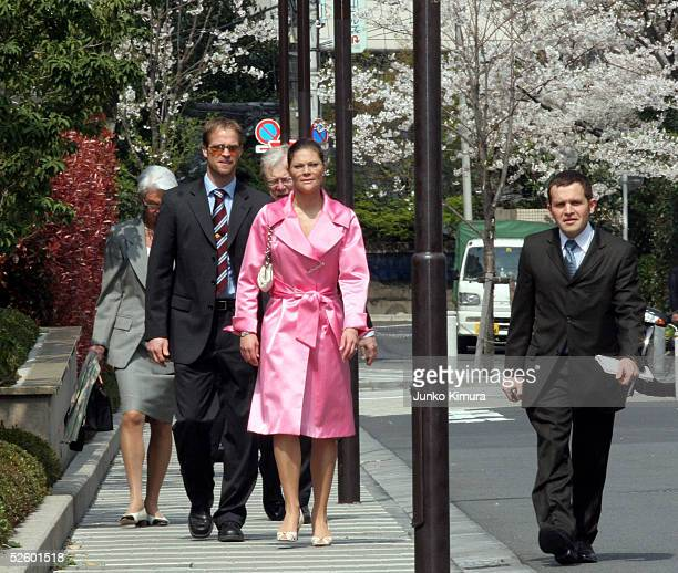 Crown Princess Victoria of Sweden walks to Swedish Embassy to attend the opening ceremony of 'HOME SWEDish HOME' on April 8 2005 in Tokyo Japan