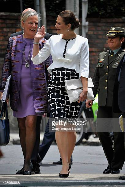 Crown Princess Victoria of Sweden waves after a meeting with leaders of the Swedish Colombian alumni network at the residence of the Swedish...