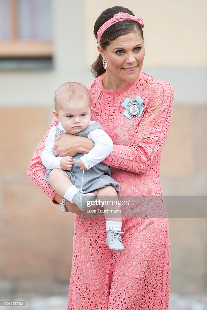Crown Princess Victoria of Sweden with her son Prince Oscar attend the christening of Prince Alexander of Sweden at Drottningholm Palace Chapel on September 9, 2016 in Stockholm, Sweden.
