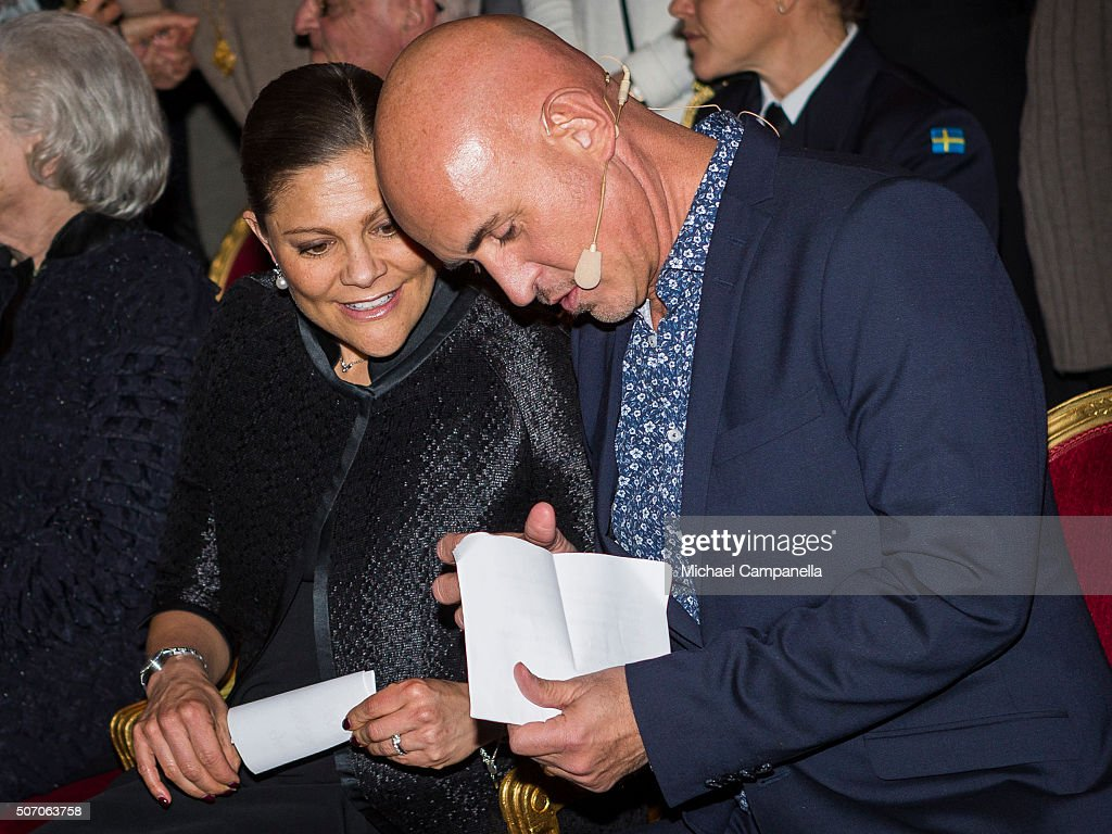 Crown Princess Victoria of Sweden with Micael Bindefeld at the presentation of Scholarships From Micael Bindefeld Foundation in Memory Of The Holocaust at the Royal Opera House on January 27, 2016 in Stockholm, Sweden.