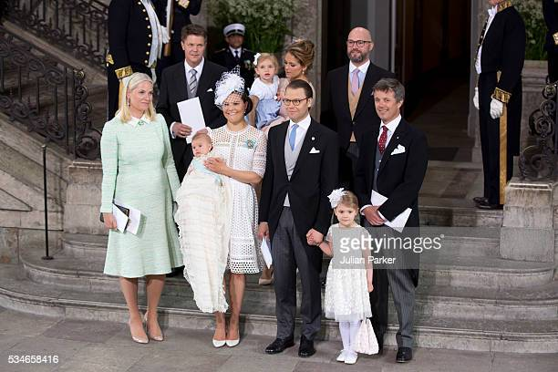 Crown Princess Victoria of Sweden with Prince Oscar of Sweden and Prince Daniel of Sweden with god parents and the christening groupattend the...