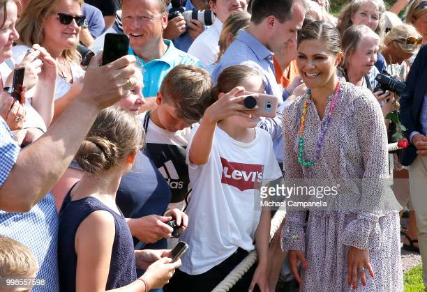 Crown Princess Victoria of Sweden with wellwishers during the occasion of her 41st birthday celebrations at Solliden Palace on July 14, 2018 in...