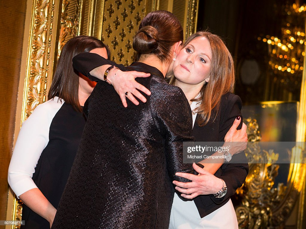 Crown Princess Victoria of Sweden with winners Adina Krantz and Nadine Gerson during the presentation of Scholarships From Micael Bindefeld Foundation in Memory Of The Holocaust at the Royal Opera House on January 27, 2016 in Stockholm, Sweden.