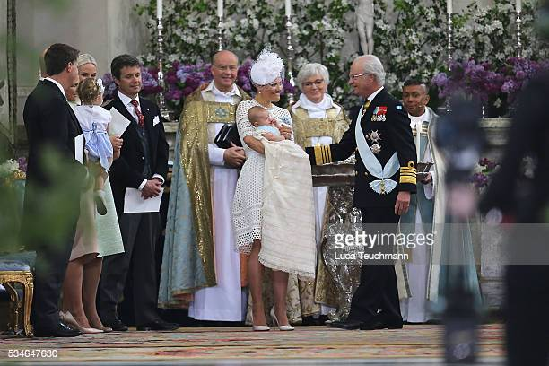 Crown Princess Victoria of SwedenPrince Oscar of Sweden and King Carl Gustaf of Sweden are seen at The Royal Palace for the Christening of Prince...
