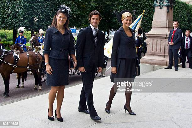 Crown Princess Victoria Prince Carl Philip and Princess Madeleine of Sweden attend the opening of the new session of Parliament at The Riksdag on...