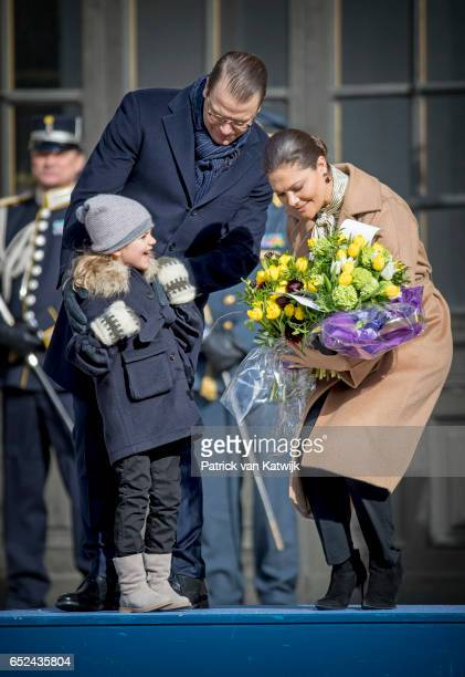 Crown Princess Victoria Prince Daniel and Princess Estelle celebrate the Name Day ceremony of the Crown Princess at the inner square of the Royal...
