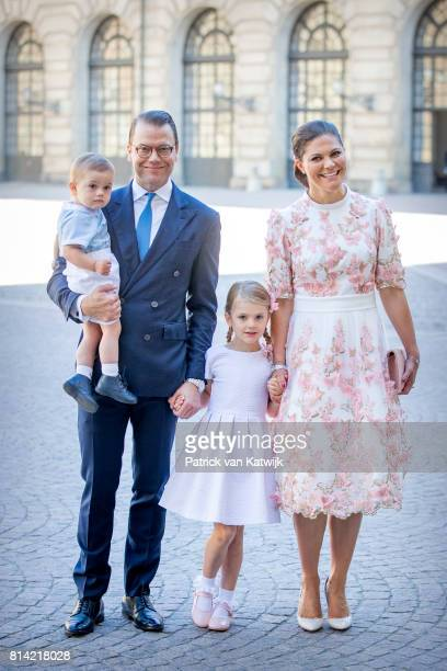 Crown Princess Victoria Prince Daniel Princess Estelle and Prince Oscar arrive for a thanksgiving service on the occasion of The Crown Princess...