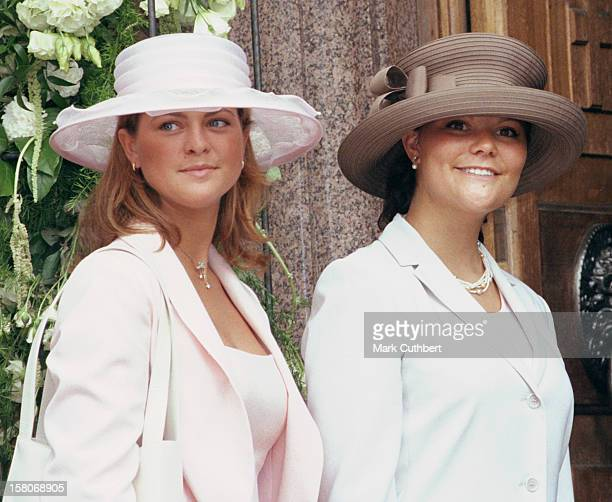 Crown Princess Victoria & Princess Madeleine Of Sweden Attend The Wedding Of Princess Alexia Of Greece And Carlos Morales Quintana At The St. Sophia...