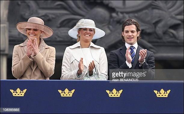 Crown Princess Victoria, Princess Madeleine, Prince Carl Philip in Stockholm, Sweden on April 30, 2006.