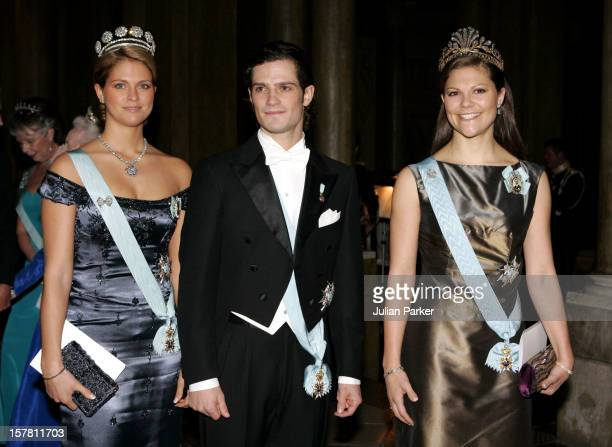Crown Princess Victoria, Princess Madeleine & Prince Carl Philip Of Sweden Attend A Gala Dinner For The Nobel Laureates At The Royal Palace In...