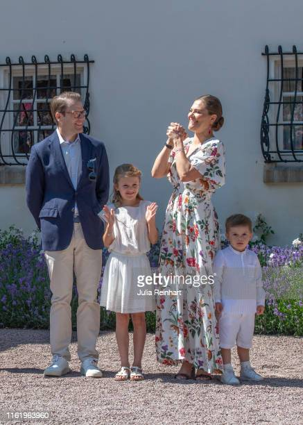 Crown Princess Victoria thanks the crowd for the birthday salute during The Crown Princess Victoria of Sweden's 42nd birthday celebrations on July 14...