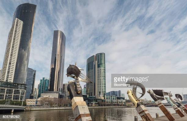 Crown Resorts Ltd's Crown Towers hotel right part of the Crown Melbourne casino and entertainment complex stands along the Yarra River in Melbourne...