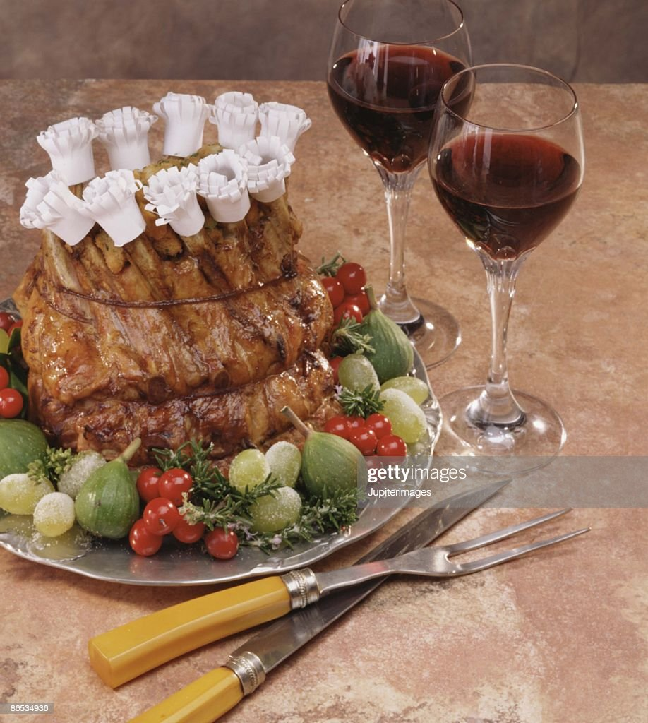 Crown roast with red wine : Stock Photo