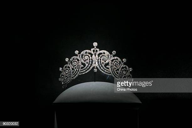 A crown used by an European royal member is displayed at the upcoming 'Cartier Treasures King of Jewelers Jewelers to Kings' exhibition in the...