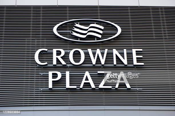 Crowne Plaza hotel sign is seen on October 6, 2020 in Warsaw, Poland. Crowne Plaza is a multinational chain of full service, upscale hotels and its...