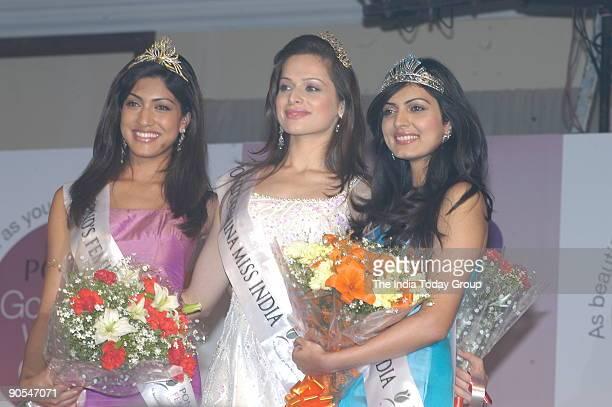 Crowned by ponds Femina Miss India 2005 Amrita Thapar Sindhura Gadde and Niharika Singh in New Delhi India