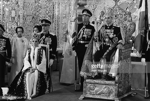 Crowning of Iran's Empress Farah Diba, also known as Farah Pahlavi. Her husband, Mohammed Reza Pahlavi, Shah of Iran, is at right.