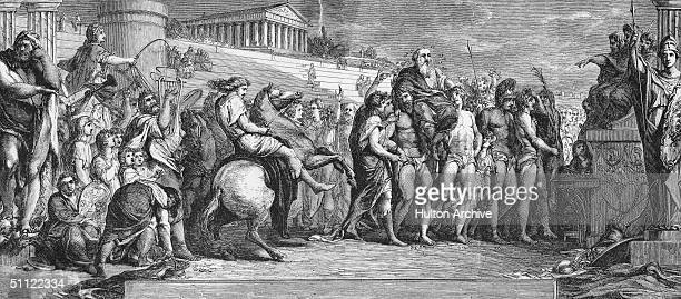 'Crowning the Victors at Olympia' after an ancient Greek Olympiad circa 600 BC An engraving after a painting by James Barry